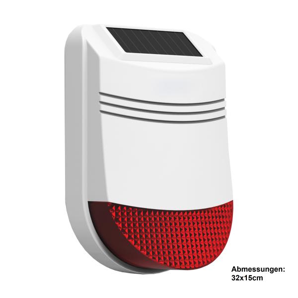 Solar Funk Außensirene für Funk Alarmanlage Serie SP110 /SP210 / SA100 / OTTO - GSM WIFI Alarmsystem