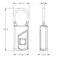 Safe2Home® stabiles flexibles Fingerabdruck Vorhängeschloss Sicherheitsschloss - schlüsselloses Schloss Türschloss Haustür, Rucksack, Koffer, Fahrrad - USB aufladbar - IP66 für außen / aussen