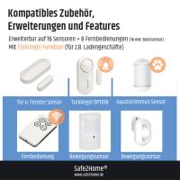 Safe2Home® Mini Alarm Basis Set bis zu 16 Sensoren - Funk Alarmanlage Set mit Sabotageschutz