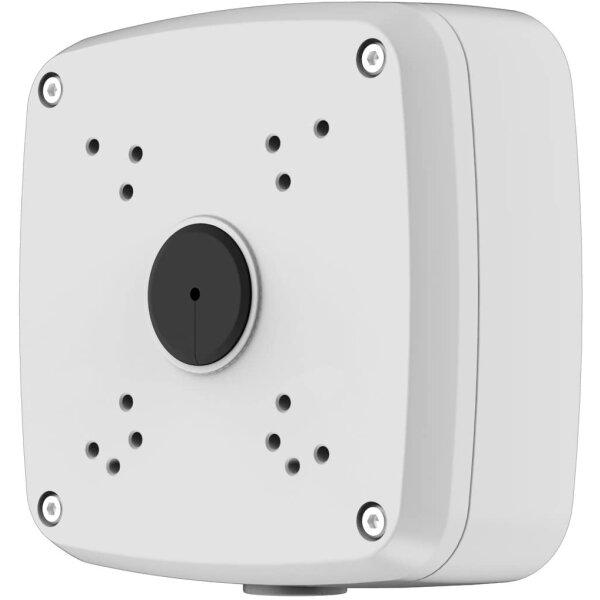 Kamera Montagesockel Eckig zum Verstauen aller Kabel für Funk / POE Kameras - Wasserfest - Videokamera / Überwachungskamera Montagebox Weiß