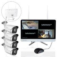 Safe2Home® Funk Überwachungskamera 4 Kanal Set...