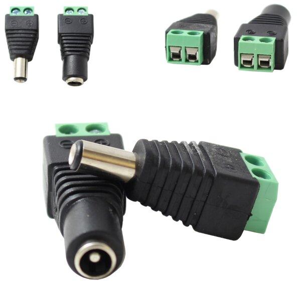 Set DC-Stecker und DC-Buchse Adapter Lüsterklemme für Stromanschluss Niedervoltbuchse schraubanschluss DC Stecker und Buchse