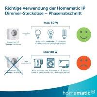 Homematic IP Smart Home Dimmer-Steckdose Phasenabschnitt zum Dimmen und Ein- bzw. Ausschalten von dimmbaren Leuchtmitteln, max. Schaltleistung 80VA