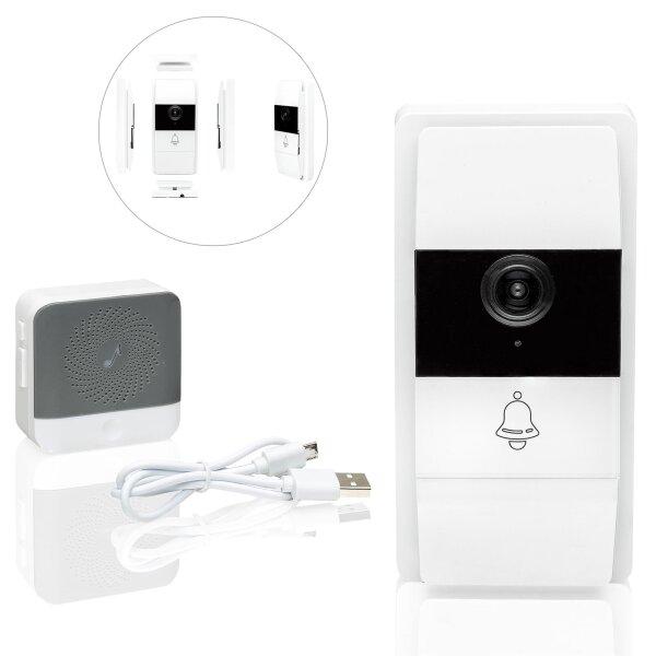 Safe2Home Türklingel weiß mit Kamera und Gegensprechanlage / WLAN / Nachtsicht Modus / Zugriff per App
